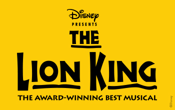 Disney Presents The Lion King, the award-winning best musical. The logo is presented in black lettering on a yellow background.
